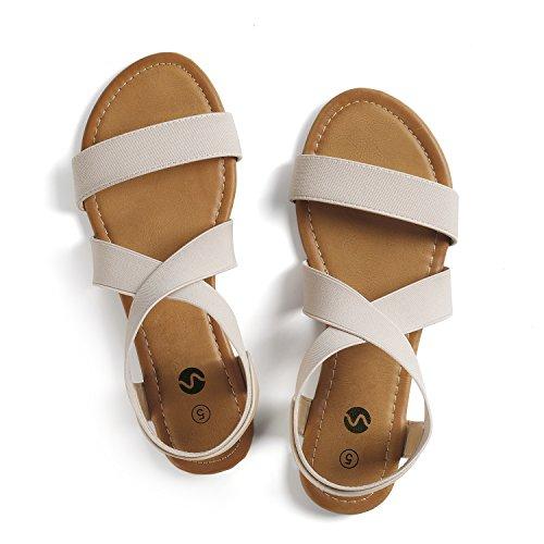 Rekayla Elastic Ankle Wrap Flat Sandals for Women Beige 08 by Rekayla