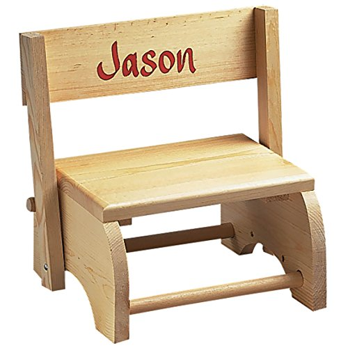 Wooden Personalized Childrens Chair/Step Stool Combo - Childrens Furniture Ideal for Toy Room, Bedroom, or Bathroom -