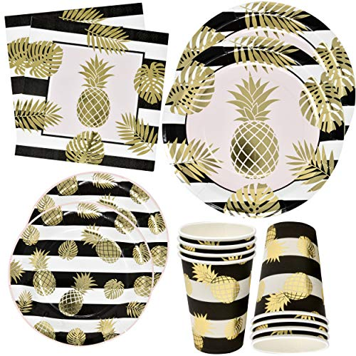 Pineapple with Gold Foil Party Supplies Set 24 9