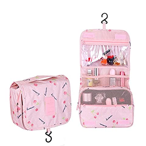 Multifunction Toiletry Cosmetic Bag Make up Kit Case Pouch Hanging Shaving Hook Travel Vacation Bathroom Organizer Carry On(Pink - Pink Kids Bag