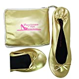 Foldable Flats Ballet Shoes Expandable Tote Bag Carrying High Heels Folding Portable Travel Gold Shoes in Large Sizes 5 to 12 Shoes That fold up. (Large = 8.5 up to 9.5)