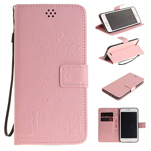 iPhone SE Case Apple iPhone 6SE Flip Wallet Case,Bat King Dandelion Witness Love[Kickstand]Leather Wallet Flip Stand Cover with Strap for Apple iPhone 6SE 4 inch(Didn't fit iPhone 6/6s)(Pink)