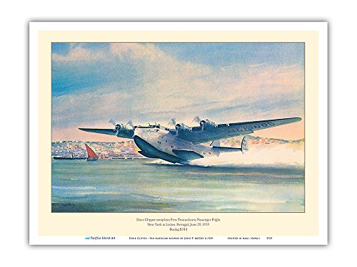 - Dixie Clipper - First Transatlantic Passenger Flight - Pan American Airways - Boeing B-314 - Vintage Airline Travel Poster by John T. McCoy c.1939 - Master Art Print - 9in x 12in