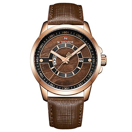 (Beauty7 Men Precise Japanese Quartz Analog Wrist Watch 3ATM Waterproof Wood Patterned Dial Day Date Window Luminous Hands Genuine Leather Band Strap Business Casual Brown)