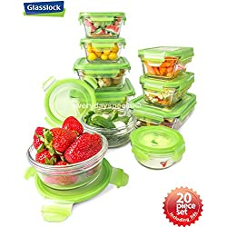 Snapware 20 piece Tempered Glasslock Storage Containers with Snaplock Lid , Microwave & Oven Safe