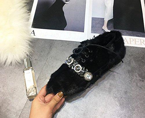 ZH Zapatos de Moda de Otoño E Invierno de Europa Zapatos de Felpa Más Zapatos de Pala de Algodón de Cachemira Zapatos Planos de Zapatos de Guisantes Femeninos UN