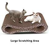 Modern Cat Scratcher Lounge With Catnip Durable Reversible Corrugated Cardboard for Kitty Scratch Protector Furniture Couch Floor Eco-friendly Toy Keep Cats Fun Healthy - Leopard