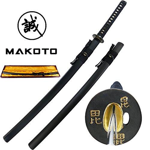 Makoto Handmade Sharp Japanese Katana Samurai Sword 41 with Display Stand – Warlord Uesugi Kenshin Tiger of Echigo
