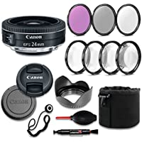 Canon EF-S 24mm f/2.8 STM Lens Deluxe Accessory Bundle includes High Definition Filters, Macro Close Up Kit, Lens Pouch, Tulip Lens Hood, Lens Caps and More....