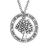 Winter's Secret Popular Lettering Hollow out Wisdom Tree Wafer Unisex Pendant Necklace