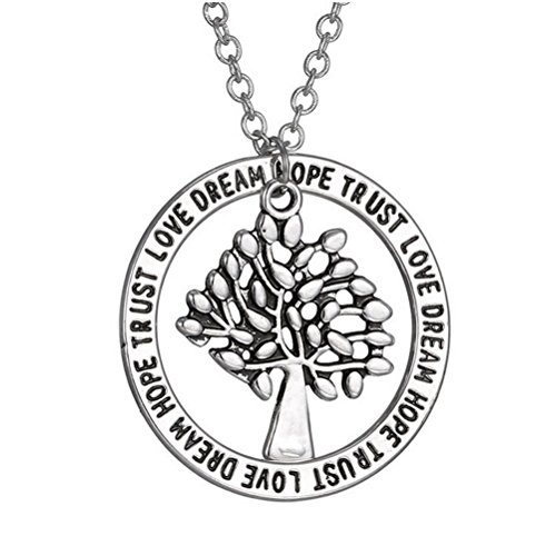 Winter's Secret Popular Lettering Hollow out Wisdom Tree Wafer Unisex Pendant - Cards Sale Fake Id Military
