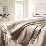 ELLESILK Silk Blanket, Pure Long Strand 100% Mulberry Silk, Comfort and Warmth, Anti Allergy, Cappuccino, Queen