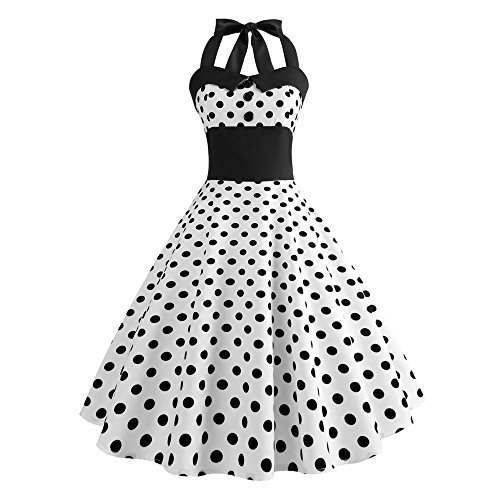 PERFURM Women Vintage Elegant Polka Dot Halter Strapless Swing Dress 1950s Retro Casual Cocktail Holiday Corset Dresses White (Best Holiday Cocktail Dresses)