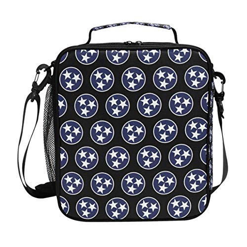 - Three Star Tennessee Flag Messenger Lunch Bags Shoulder Tote for Kids Women