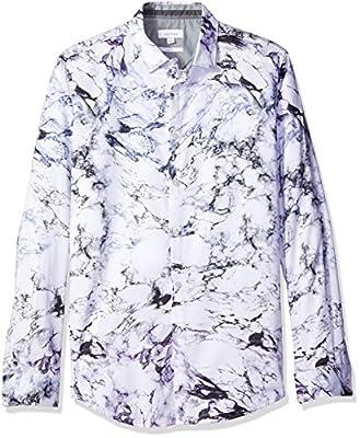 Calvin Klein Men's Slim Fit Long Sleeve Marble Print Button DownShirt