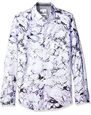 Calvin Klein Men's Slim Fit Long Sleeve Marble Print Button DownShirt