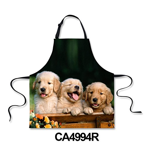 (Youngerbaby Animal Dog Print Kitchen Apron for Women, Funny Baking Apron Women Teens Girls Bib Aprons with Adjustable Neck Strap,Personalized Durable Aprons for Grilling, Cleaning, Cooking,Gardening)