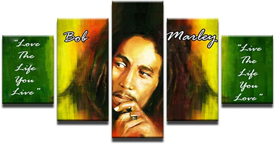 Bob Marley Quote 5 Panel Canvas Print Wall Art Pictures Musician Paintings Jamaican Culture Art Canvas Inspirational Quotes Artwork Home Decor for Living Room (40x60 40x80 40x100cm)