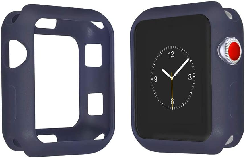 ONMROAD Bumper Case Compatible for Apple Watch Protector 44mm Series 5 Series 4 Soft Flexible TPU Four Side Protective Shockproof for iWatch Midnight Blue Case