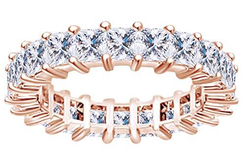 4 Carat (Ctw) Princess Shape White Natural Diamond Full Eternity Wedding Band Ring in 14k Solid Rose Gold Ring Size-6.5 (4 Carat Princess Cut Diamond Ring Price)