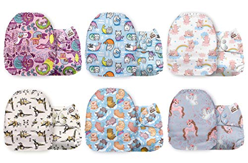Mama Koala One Size Baby Washable Reusable Pocket Cloth Diapers, 6 Pack with 6 One Size Microfiber Inserts (Like an Animal)
