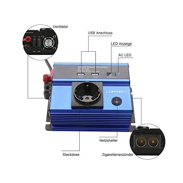 519LqfnM5NL LOFTer 300W Auto Wechselrichter LED Anzeige KFZ Spannungswandler DC 12V auf AC 230V Power Inverter mit 2 USB Anschlüsse…