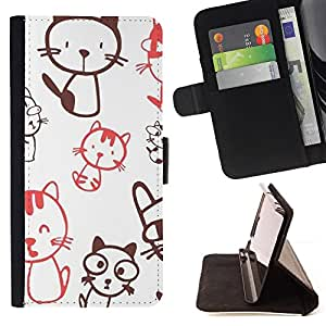 DEVIL CASE - FOR Apple Iphone 6 - Cute Crazy Cat Pattern - Style PU Leather Case Wallet Flip Stand Flap Closure Cover