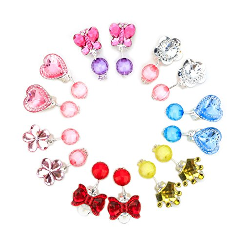 Baby Girl Clip-on Earrings,7 Pairs Little Girl Kids Shiny Princess Jewelry Set Birthday Gift Pretend Play Toy Dress up Set Crystal Earring Box -
