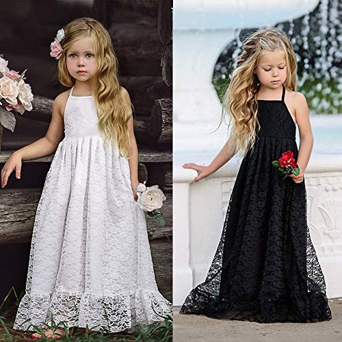 2019 Haute Couture Dress for Girls Backless Halter Skirt Lace Sleeveless Flower Strap Princess Party Formal Dress Clothes