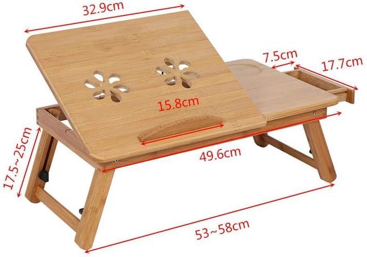 Table de lit Pliable en Bambou pour PC Portable Table Portable pour Ordinateur Inclinable Plateau de Lit Pliable Table de Lit R/églable avec Trous da/ération Petit Tiroir Table de lit Pliante Durable