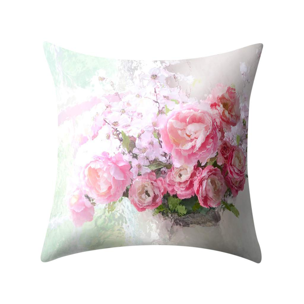 LNGRY Pillow Covers,Fashion Beautiful Spring Flower Mother Day Plant Printed Polyester Pillow Case Cover Sofa Cushion Cover Home Decor (K, 18''x18'')