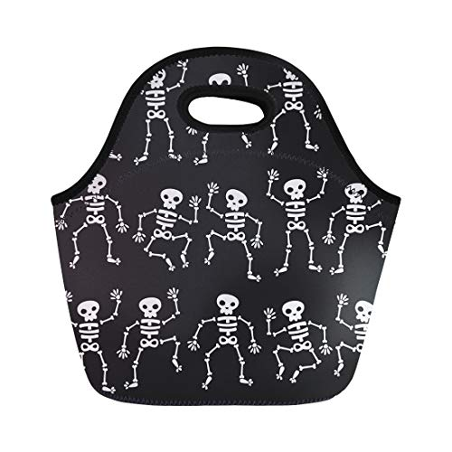 Semtomn Neoprene Lunch Tote Bag Cartoon of Dancing Skeletons Black Halloween Skull Bones Holiday Reusable Cooler Bags Insulated Thermal Picnic Handbag for Travel,School,Outdoors,Work -