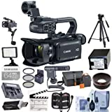 Canon XA35 Professional Camcorder - Bundle with Video Bag, 64GB Class 10 SDXC U3 Card, Max Power Spare Battery, 58mm Filter Kit, Video Light, Shotgun Mic, Fluid Head Tripod and More