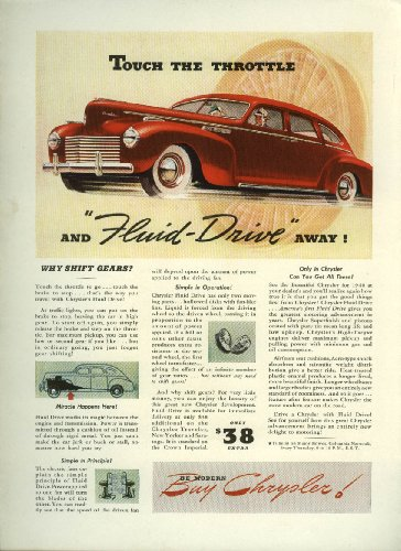 Touch the Throttle and Fluid-Drive away! Chrysler ad 1940
