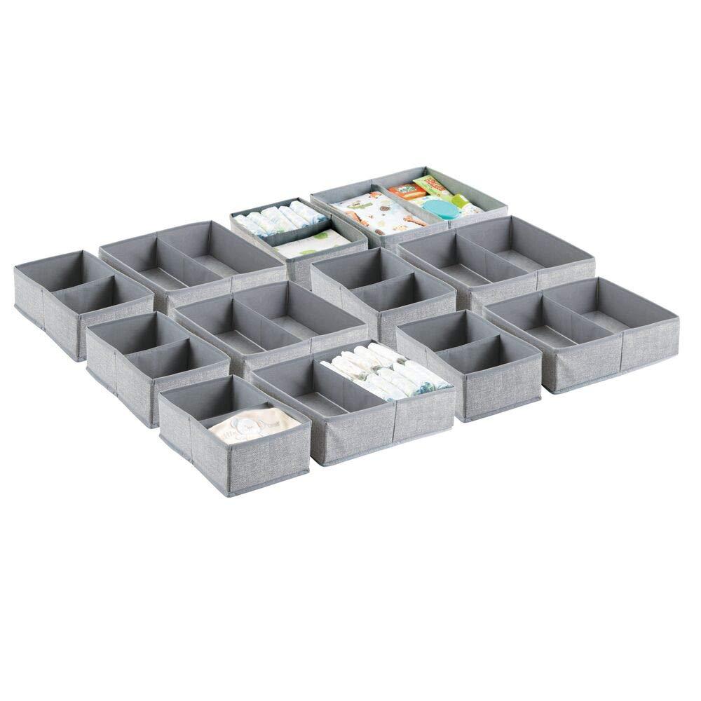 mDesign Soft Fabric Dresser Drawer and Closet Storage Organizer Set for Child/Kids Room, Nursery, Playroom, Bedroom - Rectangular Organizer Bins with Textured Print - Set of 12 - Gray