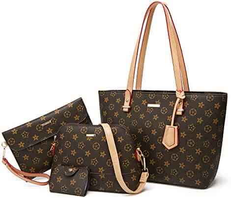 9bc23bf92 ELIMPAUL Women Fashion Handbags Tote Bag Shoulder Bag Top Handle Satchel  Purse Set 4pcs
