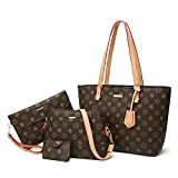 ELIMPAUL Women Fashion Handbags Tote Bag Shoulder Bag Top Handle Satchel Purse Set 4pcs (Black-3)