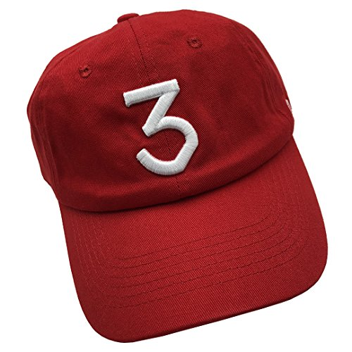 (Number 3 Baseball Cap Embroidered Dad Hats Adjustable Snapback Cotton Unisex Red)