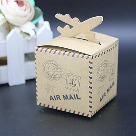 Amazon.com: 50pcs Lovely Aire Avión rústico kraft Candy Box ...