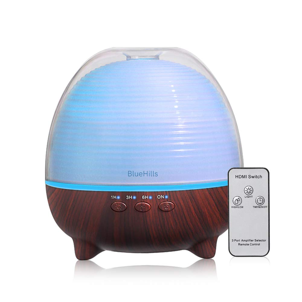 BlueHills Premium Essential Oil Diffuser with Remote Cute Aromatherapy Humidifier Large Capacity Coverage Area for Home Room Office Spa Long 12 hour Run Timer Lights Cute Dark Wood Grain-S03-600ML