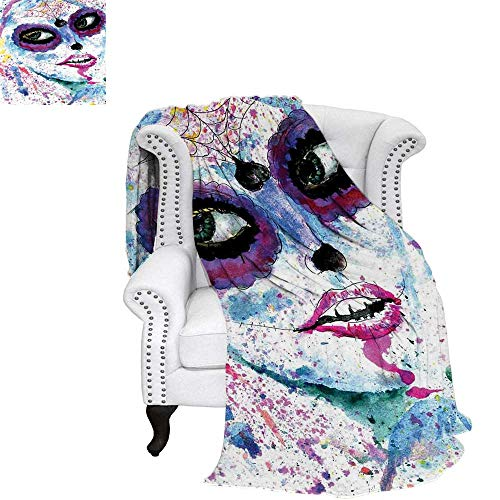 WilliamsDecor Girls Throw Blanket Grunge Halloween Lady with Sugar Skull Make Up Creepy Dead Face Gothic Woman Artsy Warm Microfiber All Season Blanket for Bed or Couch 60