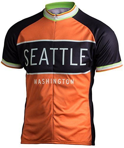Classic Racer Seattle Cycling Jersey, Orange and Black, Men's Club Cut, Vintage Retro Styling