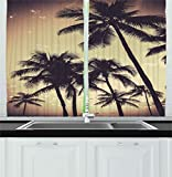 Ambesonne Kitchen Decor Collection, Tropical Palm Trees Hawaiian Style Beach House Design Sunset Modern Design Print Surfing, Window Treatments for Kitchen Curtains 2 Panels, 55X39 Inches, Grey Sepia
