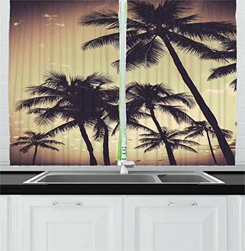 Ambesonne Kitchen Decor Collection, Tropical Palm Trees Hawaiian Style Beach  House Design Sunset Modern Design Print Surfing, Window Treatments For  Kitchen ...