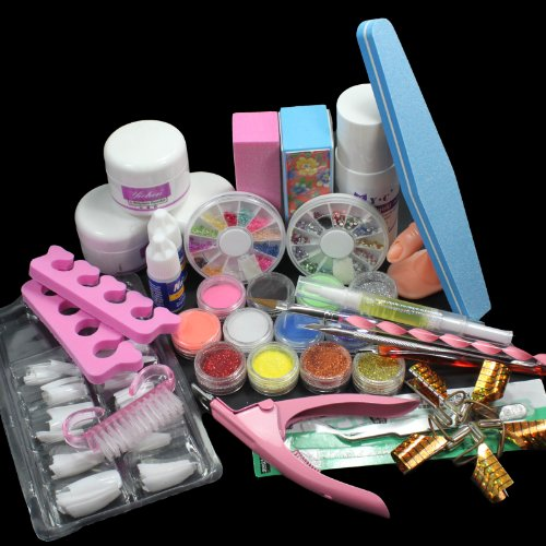 US Seller 24 in 1 Combo Set Professional DIY Nail Art Decorations Kit Brush Buffer Acrylic Glitter Powder Cuticle Revitalizer Oil Pen Tool Nail Tips Rhinestones Pearls Reusable Form Glue Acrylic Set