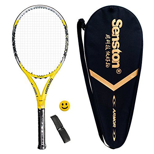 Senston Adult All Graphite Tennis Racket Carbon Fiber Tennis Racquet Including Tennis Cover Stability is Better (Carbon Fiber Tennis Racket)