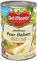 Del Monte, Pear Halves, Bartlett Pears in Heavy Syrup, 15.25oz (Pack of 6)