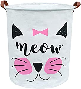 Sanjiaofen Large Storage Bins,Canvas Fabric Laundry Basket Collapsible Storage Baskets for Home,Office,Toy Organizer,Home Decor (Bowknot cat)