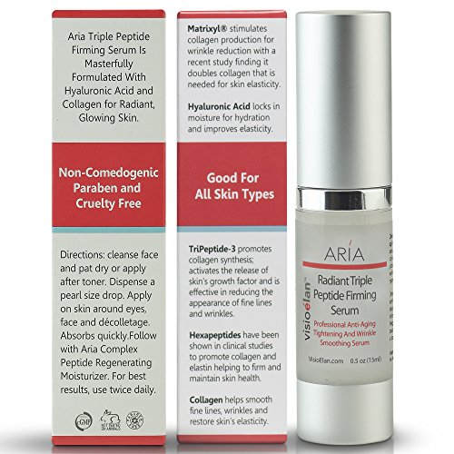 Skin Rejuvenating Face Treatment - BEST 3 Peptide Firming Serum + Hyaluronic Acid + Collagen - Lift & Tighten Facial Skin, Neck & Around Eyes - Anti Aging Repair Improves Elasticity, Wrinkles & Age Spots - All Skin Types - Visio Elan
