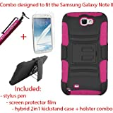 DragonCell [Black/Pink] 2 in 1 PC Plastic + Silicone Skin Gel Hybrid Armor Case with Built in Kick Stand, Swivel Belt Clip Holster, Screen Protector Film, and Stylus Pen Combo for Samsung Galaxy Note II 2 (N7100, I605, L900, I317, T889)